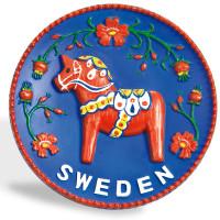 10084-Tallrik-Dalahäst-Röd